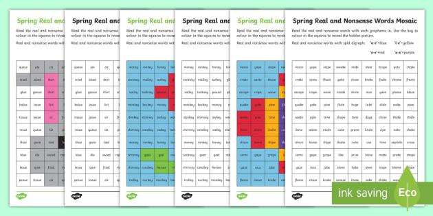 Spring Phase 5 Phonics Mosaic Worksheet / Activity Sheet