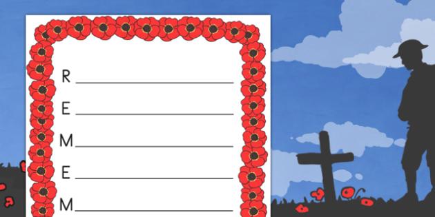 remember remembrance day acrostic poem template australia