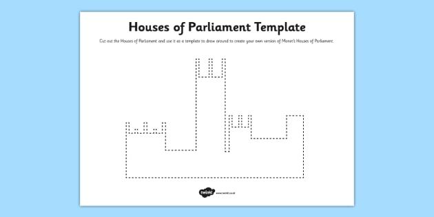 Houses of Parliament Template Activity Sheet - art, parliament, worksheet