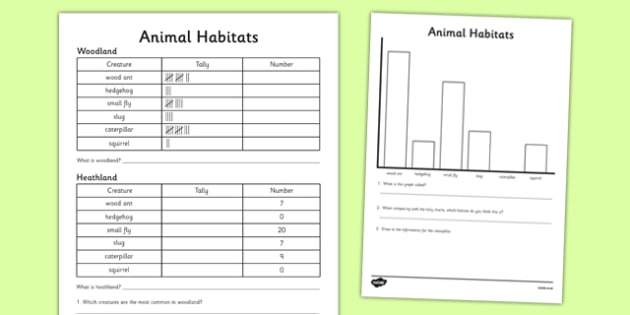 Animal Habitat Tally Chart and Graph Worksheet / Activity Sheet - habitat, worksheet