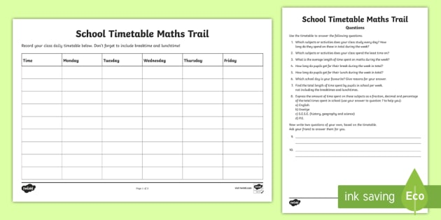 School Timetable Maths Trail Worksheet / Activity Sheet   Maths, Measures,  Time, Trail