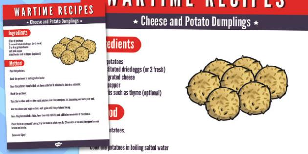 Wartime Cheese and Potato Dumplings Recipe - wartime, recipe