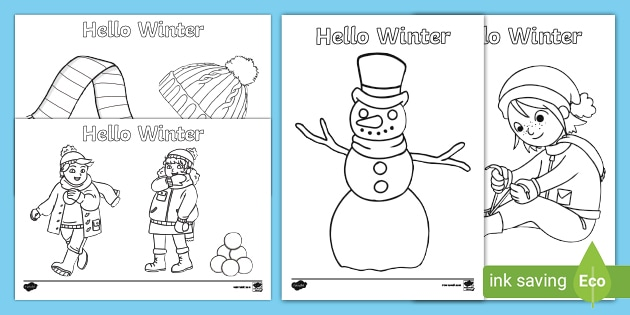 Hello Winter Colouring Pages Teacher Made