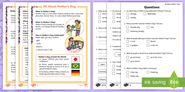 ks1 mother 39 s day differentiated reading comprehension activity mother 39 s. Black Bedroom Furniture Sets. Home Design Ideas