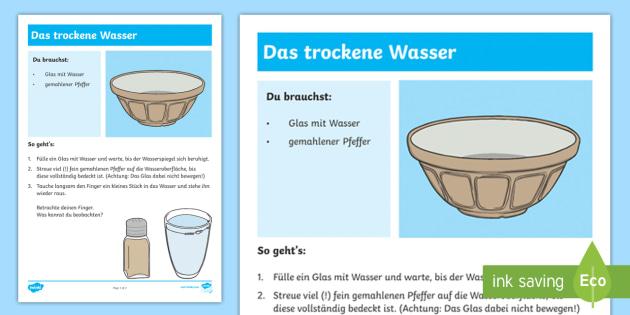 Experiment: Das trockene Wasser Arbeitsblatt - Sommer