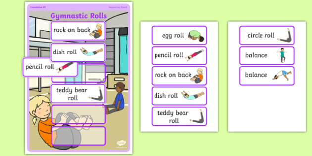 Gymnastic Rolls Sequencing Board - Eyfs, physical development, movement, actions,