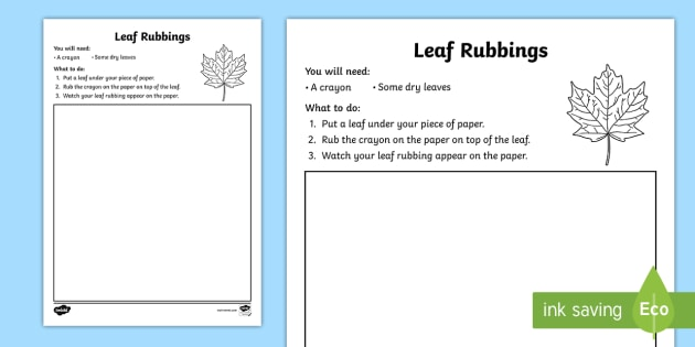 leaf rubbing worksheet