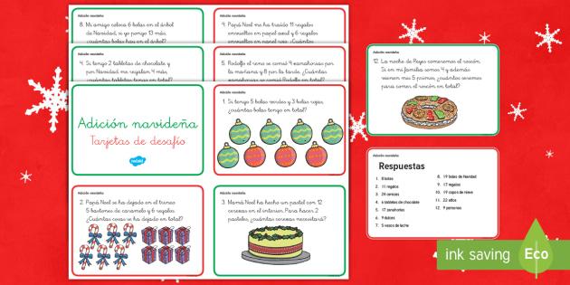 Tarjetas de desafío de matemáticas de atención a la diversidad: Adición navideña - sumas, sumar, navidad, reyes, Spanish