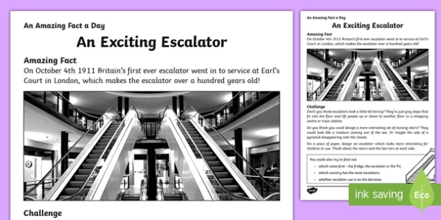 An Exciting Escalator Activity Sheet, worksheet