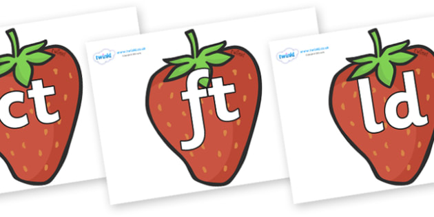 Final Letter Blends on Strawberries - Final Letters, final letter, letter blend, letter blends, consonant, consonants, digraph, trigraph, literacy, alphabet, letters, foundation stage literacy