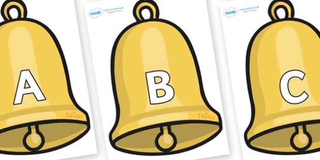 A-Z Alphabet on Christmas Bell - A-Z, A4, display, Alphabet frieze, Display letters, Letter posters, A-Z letters, Alphabet flashcards
