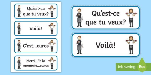 French Cafe Waiter/Waitress Cards - French Literacy Primary