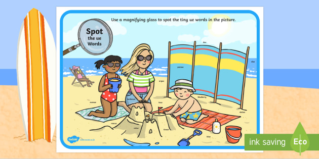 Phase 5 ue Words Beach Scene Magnifying Glass Activity Sheet - phonics, letters and sounds, phase 5, ue sound, magnifier, magnifying glass, find, activity, group,