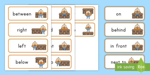 humpty dumpty positional word cards nursery rhymes preposition of