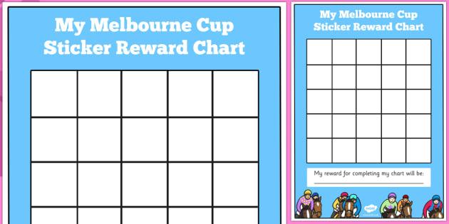 The Melbourne Cup Sticker Reward Charts - australia, melbourne cup, sticker, reward, charts