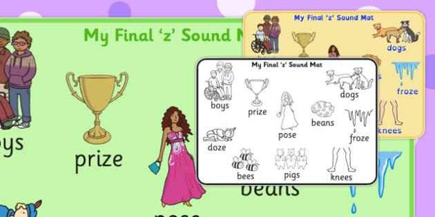 Final 'Z' Sound Word Mat 2 - final z, sound, word mat, word, mat