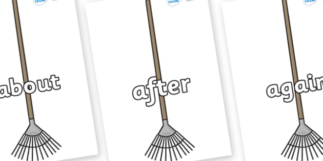 KS1 Keywords on Garden Rakes - KS1, CLL, Communication language and literacy, Display, Key words, high frequency words, foundation stage literacy, DfES Letters and Sounds, Letters and Sounds, spelling