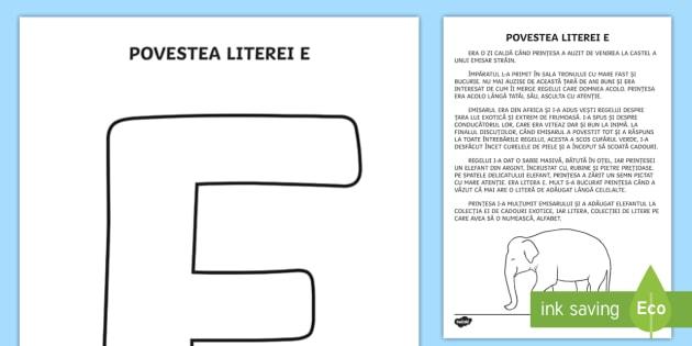Litera E Poveste Clasa Pregătitoare Litere Literă Povestea