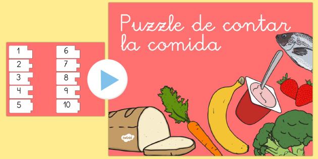 Presentación: Puzzle de contar la comida - contar, números, comer, sano, saludable, dieta, alimentación