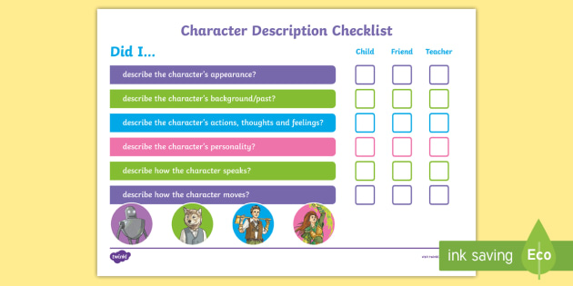 Image result for features of a character description ks2