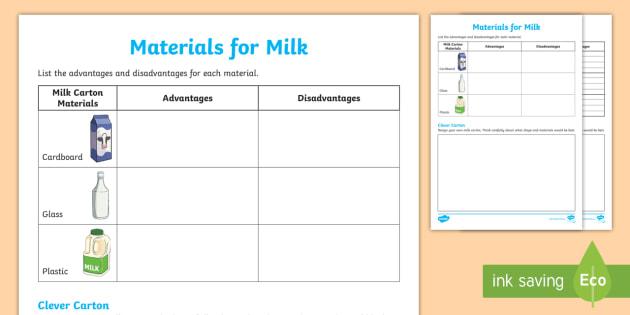 Milk Carton Materials Worksheet / Activity Sheet - worksheet