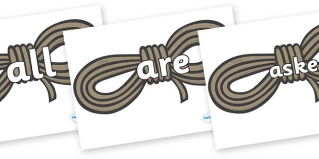 Tricky Words on Ropes - Tricky words, DfES Letters and Sounds, Letters and sounds, display, words