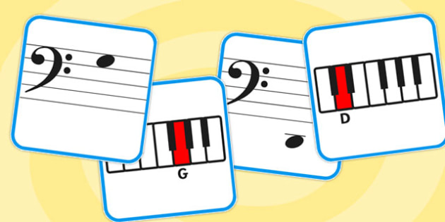 Bass Clef Piano Musical Note Recognition Memory Cards - music