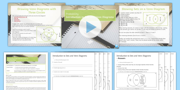 Introduction To Sets And Venn Diagrams Lesson Pack Sets