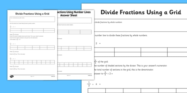 Year 6 Divide Fractions Using a Grid - year 6, divide, fractions, grid, naths