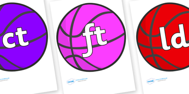 Final Letter Blends on Basketball - Final Letters, final letter, letter blend, letter blends, consonant, consonants, digraph, trigraph, literacy, alphabet, letters, foundation stage literacy