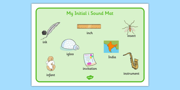 Initial I Sound Mat - initial, letter, mat, sound, alphabet, phonemes, mnemonic, images, writing, phonics, phase 2, letters, sounds