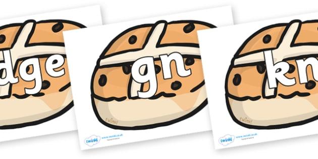 Silent Letters on Hot cross buns - Silent Letters, silent letter, letter blend, consonant, consonants, digraph, trigraph, A-Z letters, literacy, alphabet, letters, alternative sounds