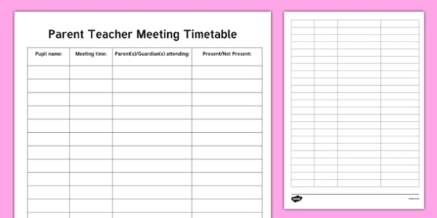 roi parent teacher meeting timetable checklist