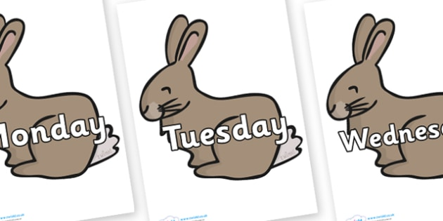 Days of the Week on Rabbits - Days of the Week, Weeks poster, week, display, poster, frieze, Days, Day, Monday, Tuesday, Wednesday, Thursday, Friday, Saturday, Sunday
