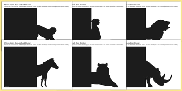 African Safari Animals Book Divider Display Cut-Outs