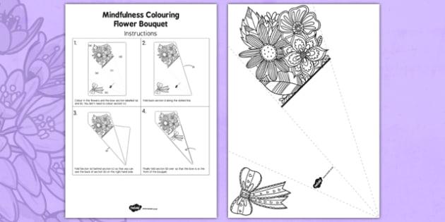 Mindfulness Colouring Flower Bouquet - calm, stress relief, art, decoration, adult, colours, pattern