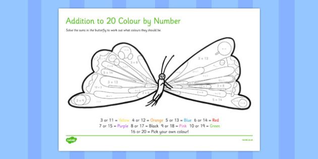 Butterfly Colour by Number Addition to 20 to Support Teaching on The Very Hungry Caterpillar
