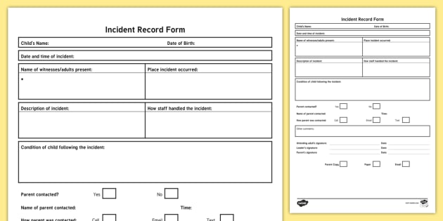 Incident Record Form Accident Incident Childminder Nursery