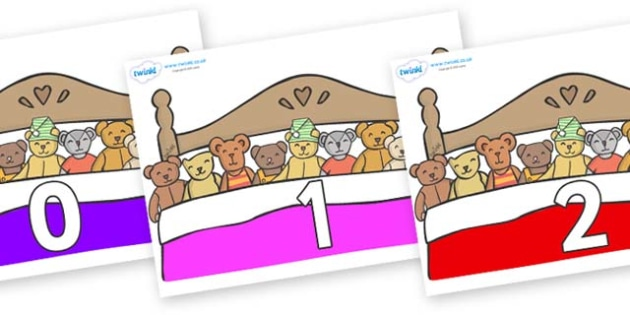 Numbers 0-50 on Ten in a Bed - 0-50, foundation stage numeracy, Number recognition, Number flashcards, counting, number frieze, Display numbers, number posters