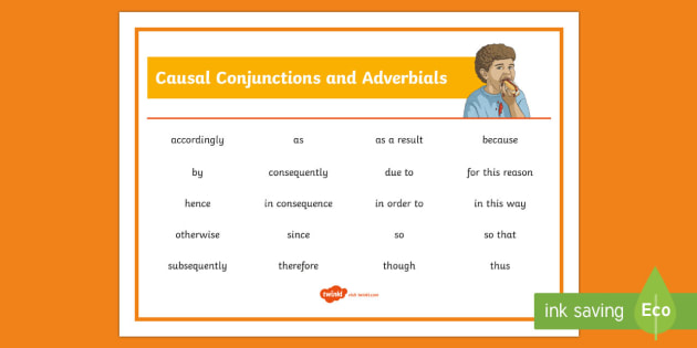 Causal Conjunctions and Adverbials Word Mat - cause, effect