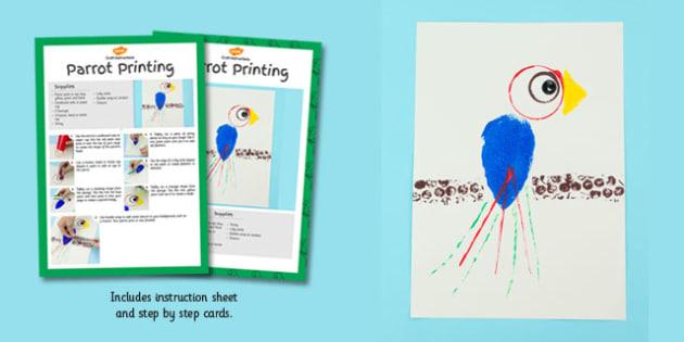 Parrot Printing Craft Cards - parrot, printing, craft cards, craft, cards