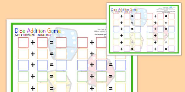 Dice Addition Game Template Polish Translation - polish, dice, addition, game, template