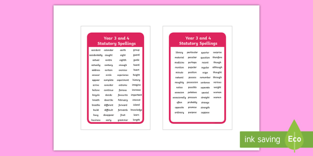 Statutory Spellings Years 3 and 4 IKEA Tolsby Frame - spag