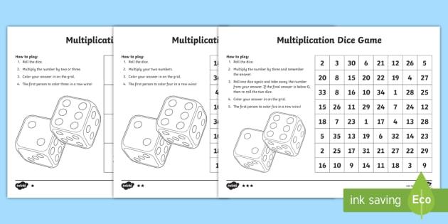 New Multiplication Dice Game 3rd Grade 4th Grade 5th Grade