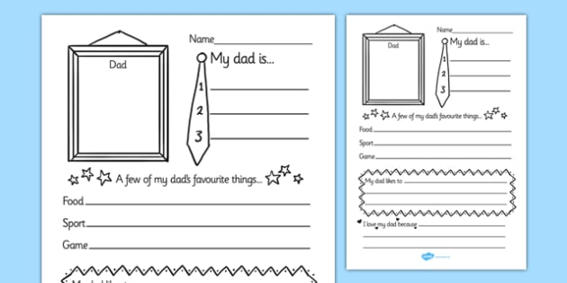 Father's Day 'About My Dad' Writing Frame - father's day, fathers day, fathers day writing frame, about my dad, about my dad writing frame, my dad