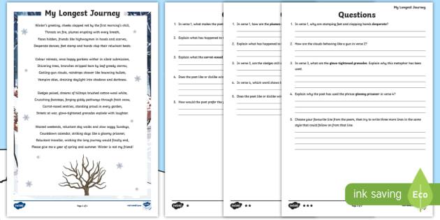 ks2 my longest journey poem differentiated worksheet worksheet. Black Bedroom Furniture Sets. Home Design Ideas