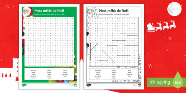 Christmas Differentiated Word Search French