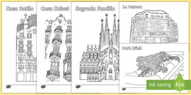 Colouring Gaudi Colouring Pages Art Architecture