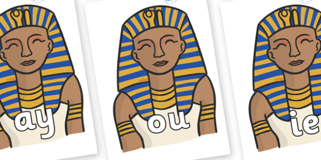 Phase 5 Phonemes on Pharaoh - Phonemes, phoneme, Phase 5, Phase five, Foundation, Literacy, Letters and Sounds, DfES, display