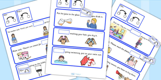 Fill In The Sentence Using 'Before' And 'After' Activity - writing templates, SEN